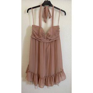 Blush Ruched Halter Babydoll Dress